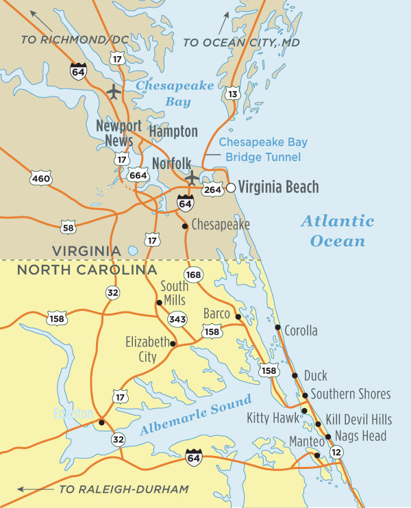 North Carolina Virginia Map Outer Banks, NC Map | Visit Outer Banks | OBX Vacation Guide