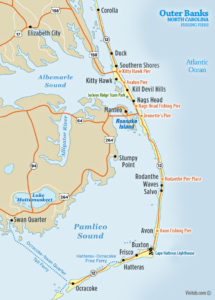 Map of Outer Banks Fishing Piers