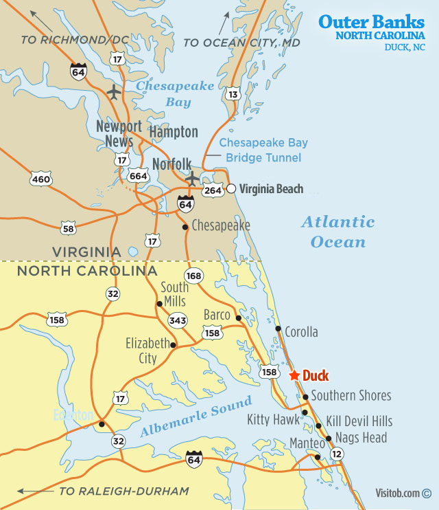 Map of Duck, NC | Visit Outer Banks | OBX Vacation Guide Cary North Carolina Map on