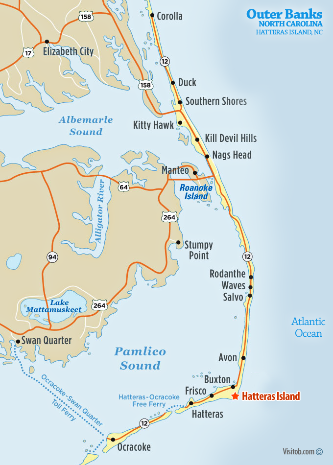 Map Of Hatteras Island Nc Visit Outer Banks Obx Vacation Guide