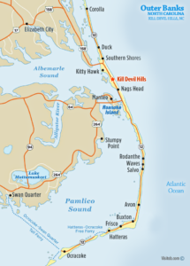Map of Kill Devil Hills, NC Outer Banks