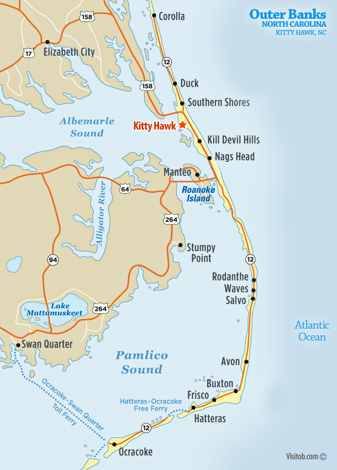 Map of Kitty Hawk, NC | Visit Outer Banks | OBX Vacation Guide
