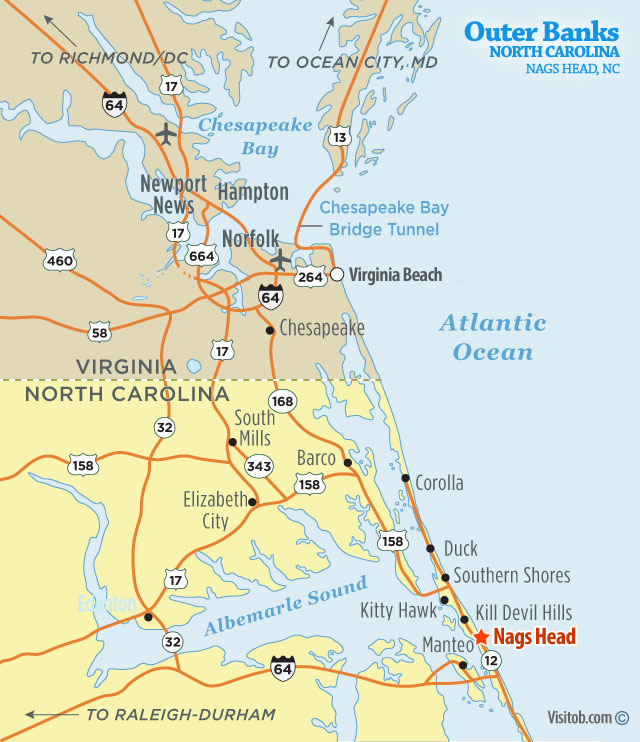 Nags Head Nc Map Map of Nags Head, NC | Visit Outer Banks | OBX Vacation Guide