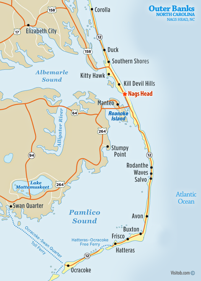 Map Of Outer Banks Nc Map of Nags Head, NC | Visit Outer Banks | OBX Vacation Guide Map Of Outer Banks Nc