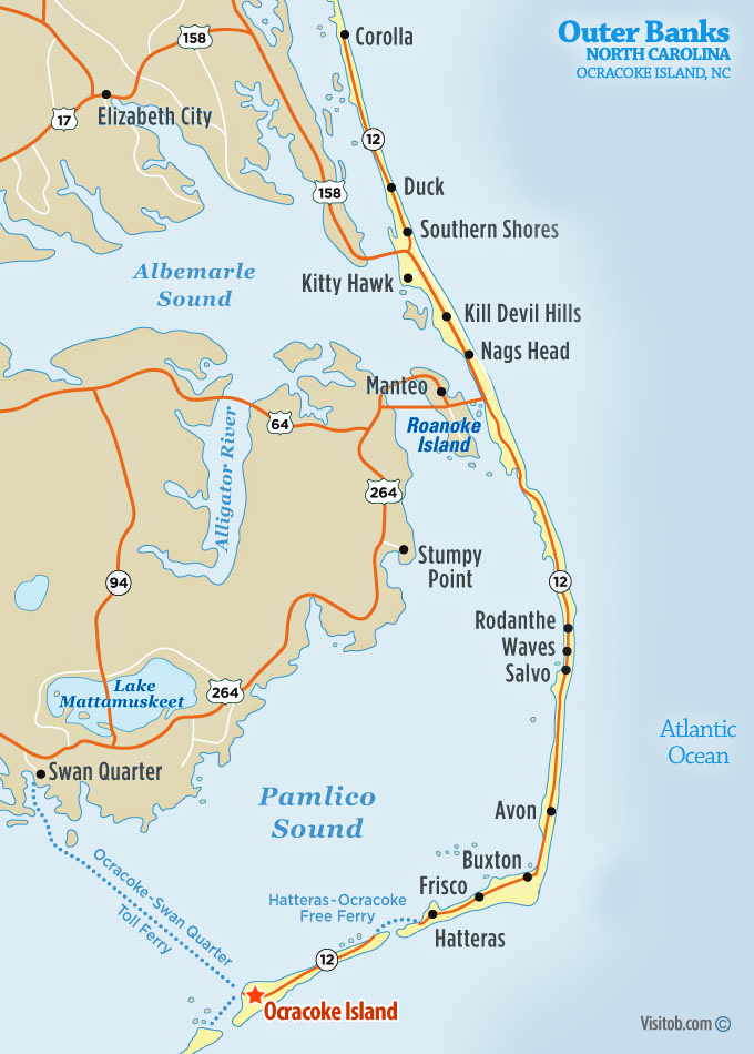 Map of Ocracoke Island, NC | Visit Outer Banks | OBX Vacation Guide