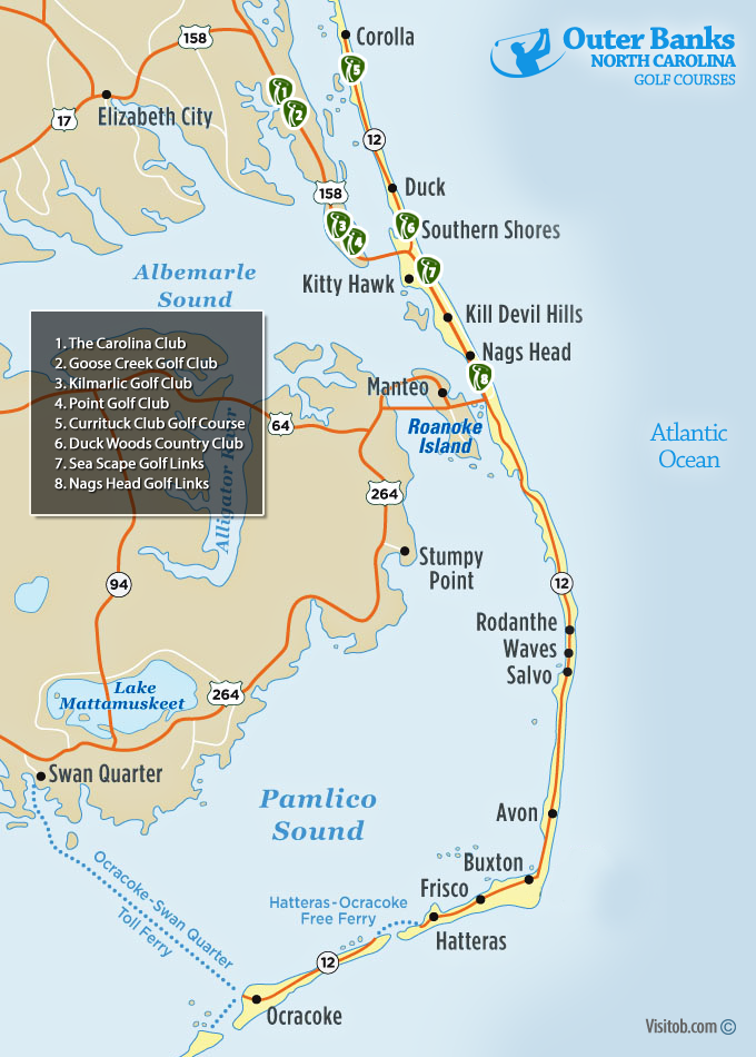 Nags Head Nc Map Map of Outer Banks Golf Courses | Visit Outer Banks | OBX Vacation