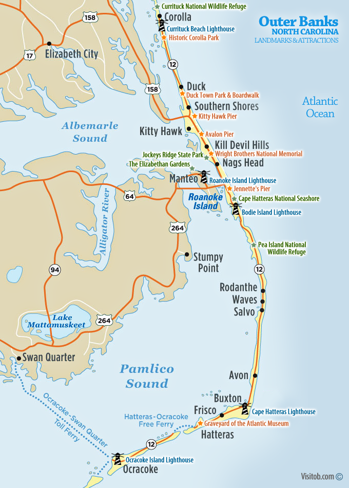 Map Of Landmarks Historic Sites Visit Outer Banks OBX Vacation - National landmarks map