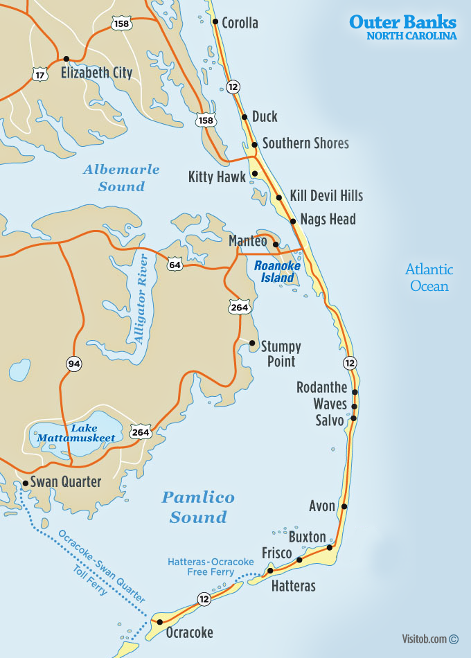 Outer Banks NC Map Visitob Outer Banks Vacation Guide - A map of north carolina