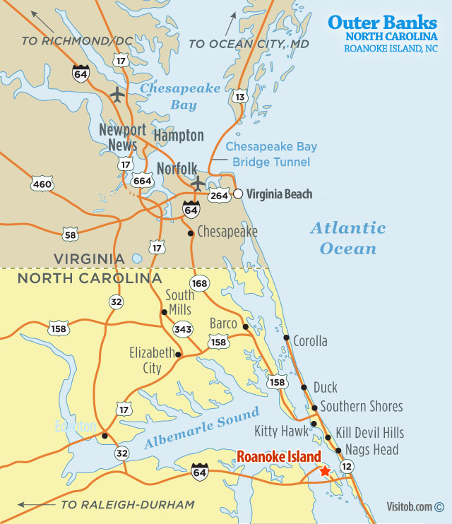 Map Of Roanoke Island Nc Visit Outer Banks Obx Vacation Guide
